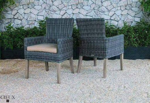 CIEUX Patio Dining Champagne Weathered Teak Table with Six Grey Wicker Chairs