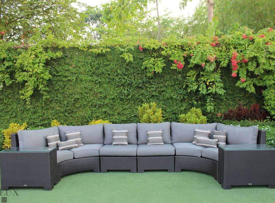 CIEUX Sectional Charcoal Grey Provence Curved Large Sectional Sofa & 2 Glass Top End Tables - Available in 3 Colours