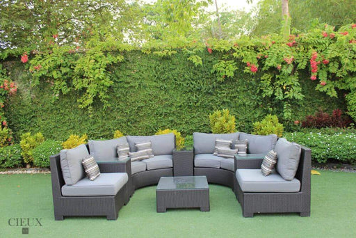 CIEUX Sectional Charcoal Grey Provence Curved Large Sectional Sofa Set - Available in 3 Colours