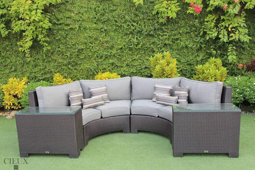 CIEUX Sectional Charcoal Grey Provence Curved Sectional Sofa with 2 Glass-Top End Tables - Available in 3 Colours