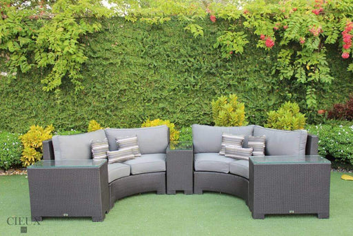 CIEUX Sectional Charcoal Grey Provence Curved Sectional Sofa with 3 Glass-Top End Tables - Available in 3 Colours