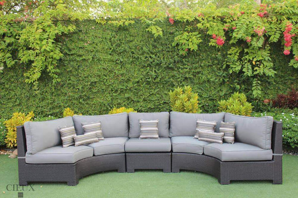 CIEUX Sectional Charcoal Grey Provence Curved Small Sectional Sofa with Armless Chair - Available in 3 Colours