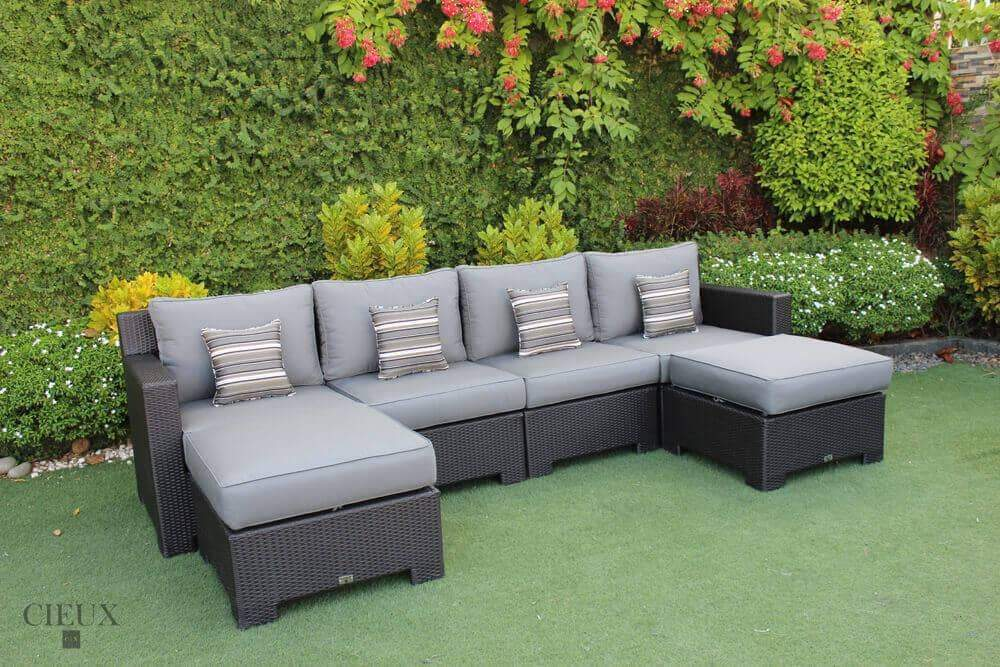 CIEUX Sectional Charcoal Grey Provence Medium U-Shaped Sectional - Available in 3 Colours