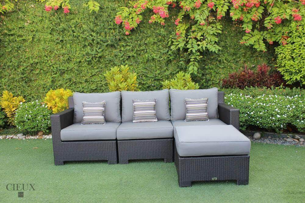 CIEUX Sectional Charcoal Grey Provence Sectional with Ottoman / Glass-Top Coffee Table - Available in 3 Colours