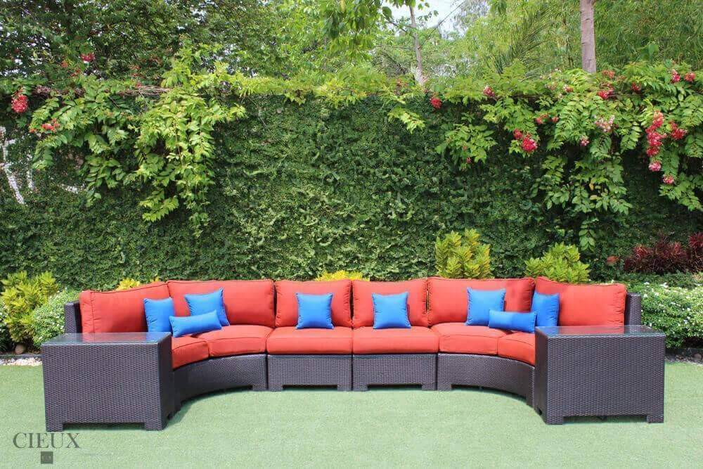 CIEUX Sectional Terracotta Red Provence Curved Large Sectional Sofa & 2 Glass Top End Tables - Available in 3 Colours