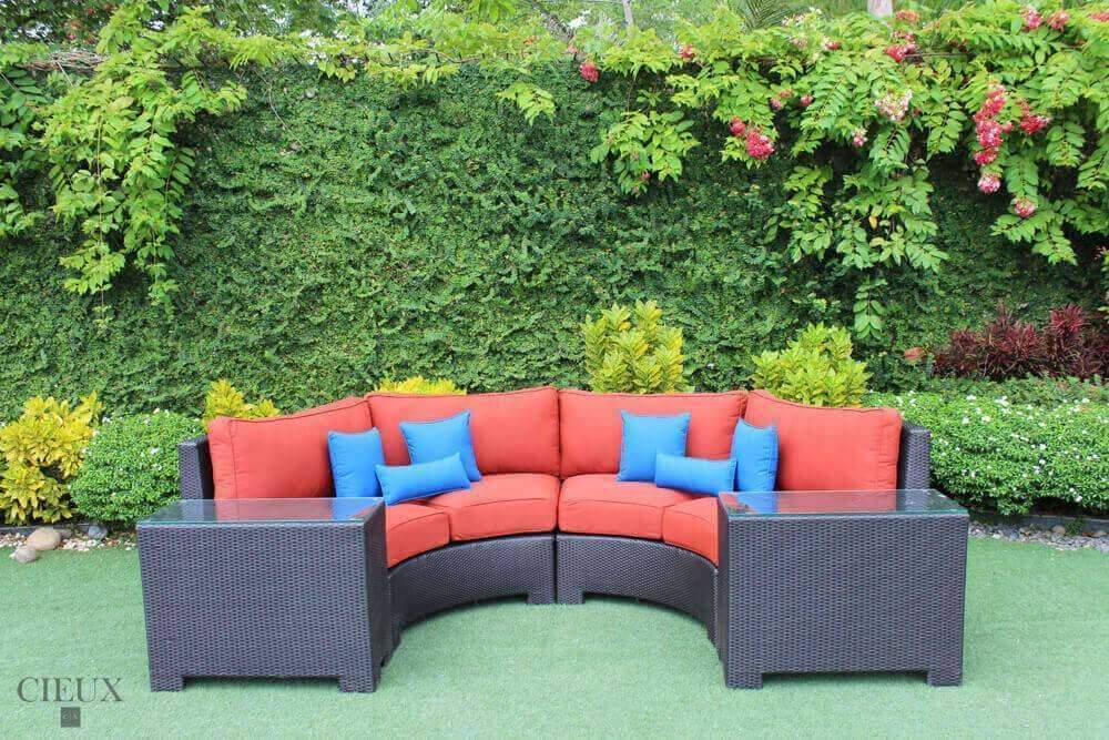 CIEUX Sectional Terracotta Red Provence Curved Sectional Sofa with 2 Glass-Top End Tables - Available in 3 Colours