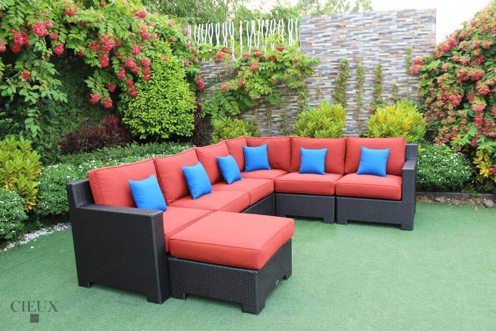 CIEUX Sectional Terracotta Red Provence L-Shaped Sectional & Glass Ottoman / Coffee Table - Available in 3 Colours