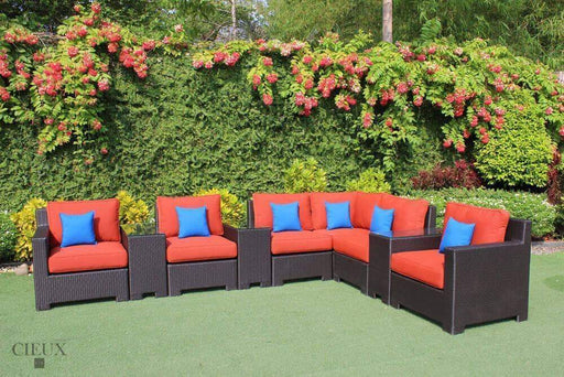CIEUX Sectional Terracotta Red Provence L-Shaped Sectional with Three Glass Top Tables - Available in 3 Colours