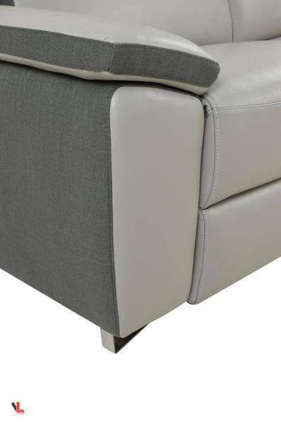Levoluxe Loveseat Aura Top Grain Light Grey Leather Power Reclining Loveseat