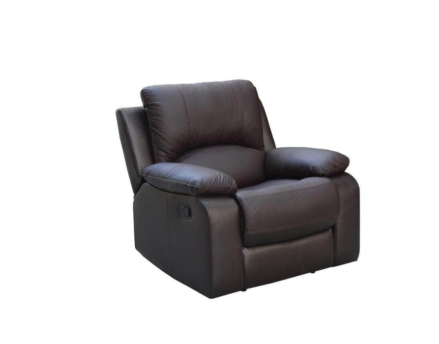 Levoluxe Recliner Chocolate William Reclining Chair in Leather Match - Available in 2 Colours
