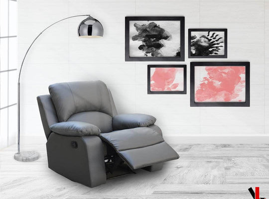 Levoluxe Recliner William Reclining Chair in Leather Match - Available in 2 Colours