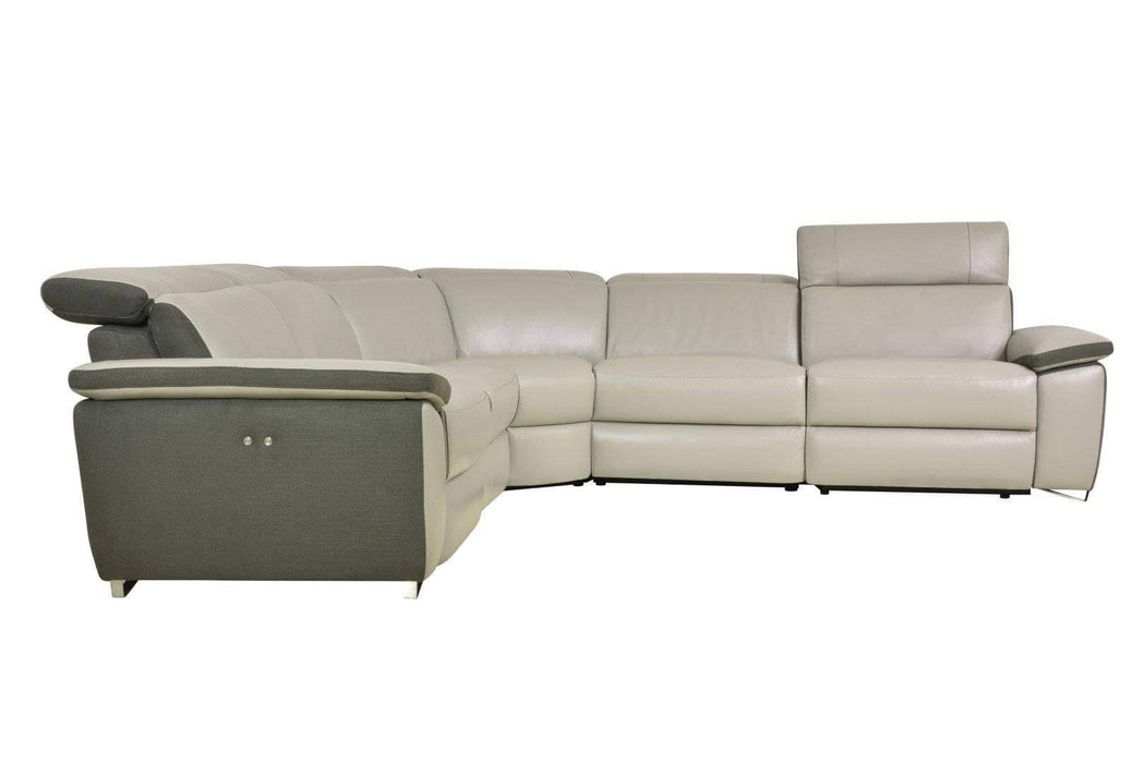 Levoluxe Sectional Aura Power Reclining Corner Sectional in Grey Top Grain Leather and Linen