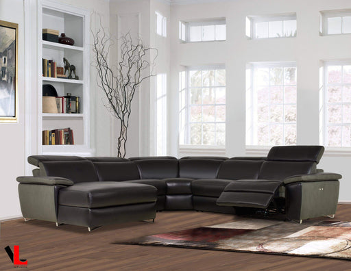 Levoluxe Sectional Aura Reclining Corner Sectional with LAF Chaise in Top Grain Black Leather and Linen