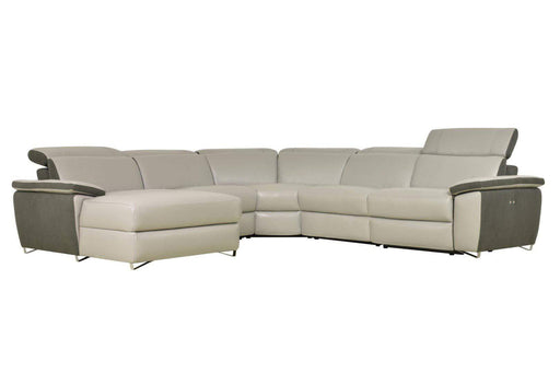 Levoluxe Sectional Aura Reclining Corner Sectional with LAF Chaise in Top Grain Grey Leather and Linen