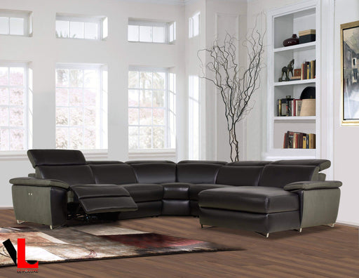 Levoluxe Sectional Aura Reclining Corner Sectional with RAF Chaise in Top Grain Black Leather and Linen