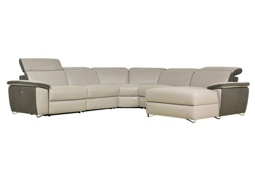 Levoluxe Sectional Aura Reclining Corner Sectional with RAF Chaise in Top Grain Grey Leather and Linen