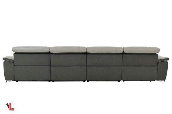 Levoluxe Sectional Sofa Aura Light Grey Leather Power Reclining Large Sectional with Right Facing Chaise