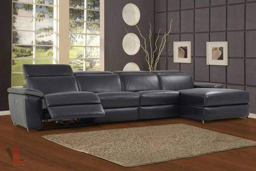 Levoluxe Sectional Sofa Aura Top Grain Black Leather Power Reclining Large Sectional with Right Facing Chaise