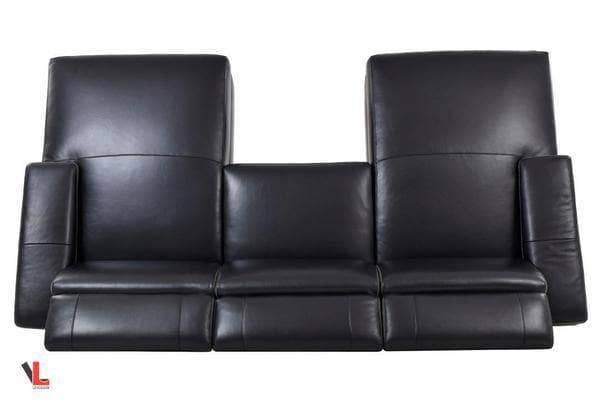 Levoluxe Sectional Sofa Aura Top Grain Black Leather Small U-Shaped Sectional