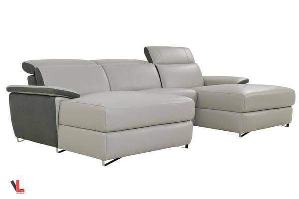 Levoluxe Sectional Sofa Aura Top Grain Light Grey Leather Small U-Shaped Sectional