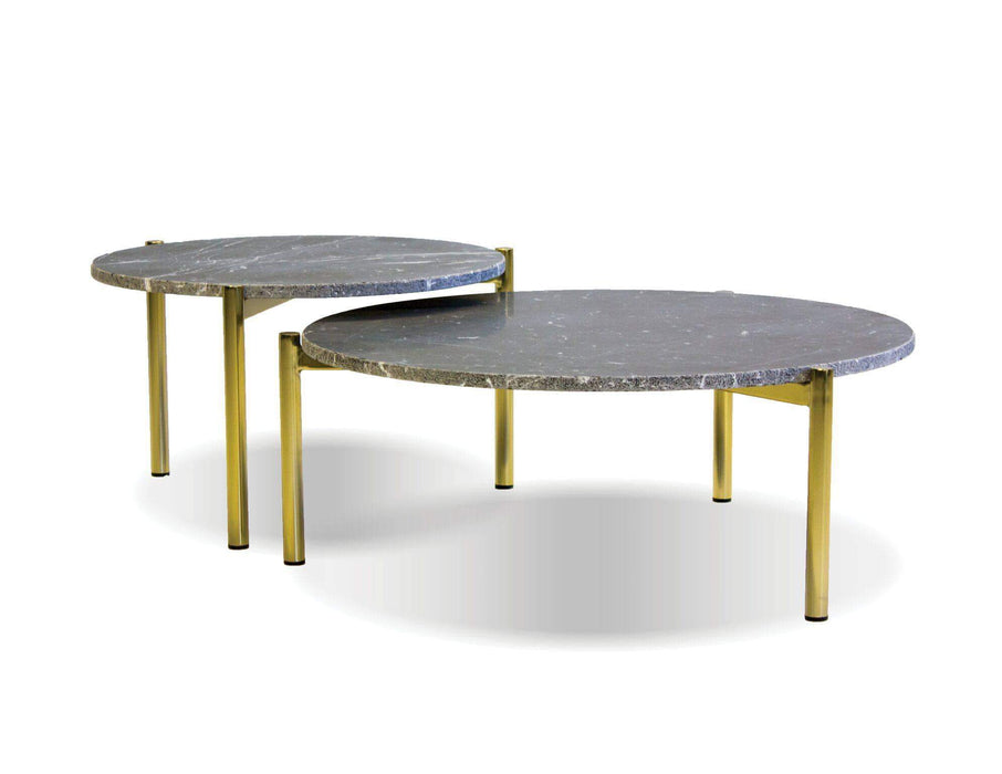 "Mobital Coffee Table 23"" / Black Atlas 23"" Round Coffee Table Black Spanish Nero Marquina Marble with Gold Polished Brass Frame"