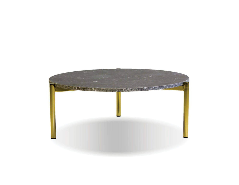 "Mobital Coffee Table 31"" / Black Atlas 23"" Round Coffee Table Black Spanish Nero Marquina Marble with Gold Polished Brass Frame"