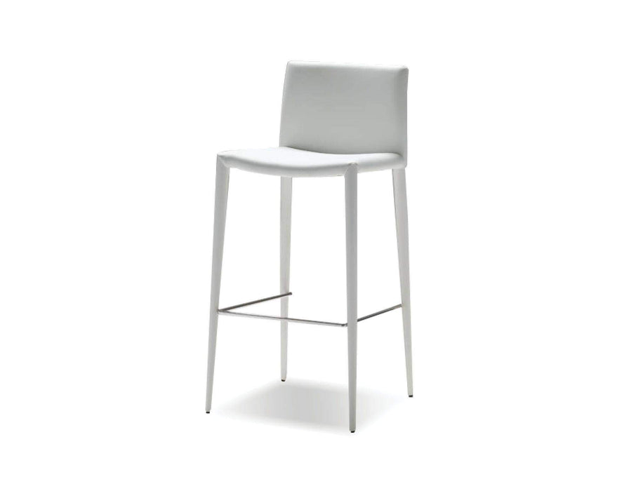 Mobital Counter Stool White Zeno Counter Stool Full Leatherette Wrap Set of 2