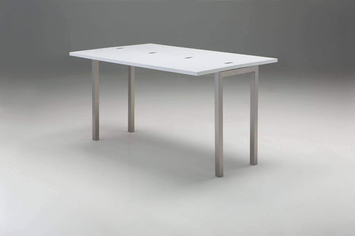 Mobital Dining Table Alure Dining Table High Gloss White with Brushed Stainless Steel