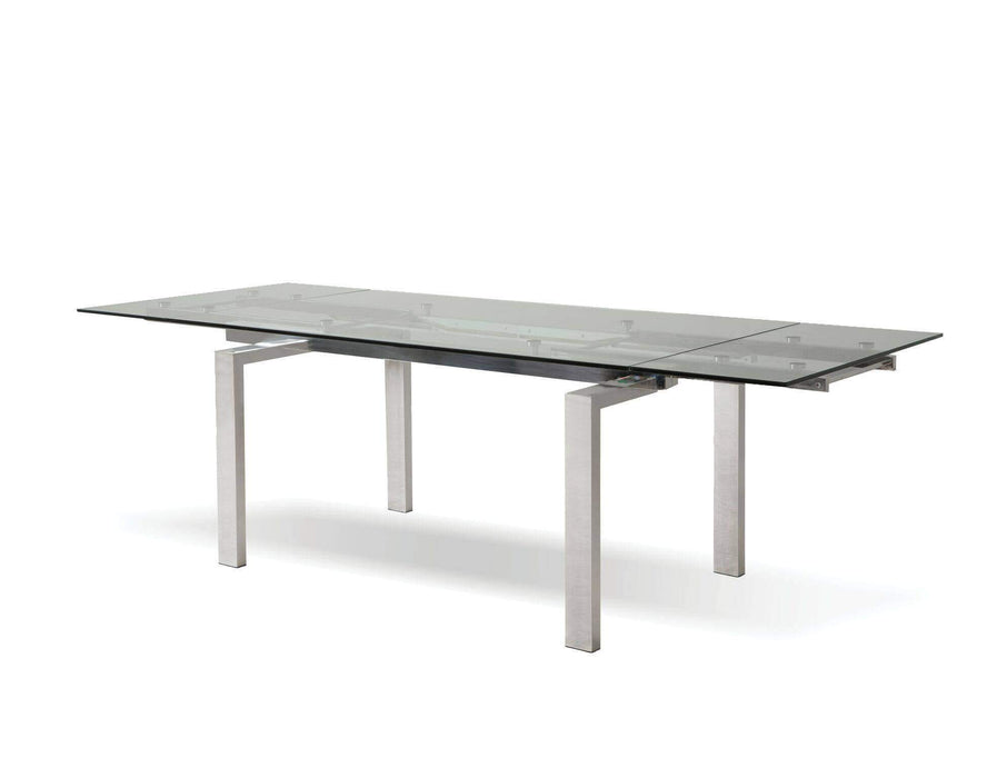 Mobital Dining Table Clear Cantro Extending Dining Table Clear Glass with Stainless Steel Features - Available in 2 Colours