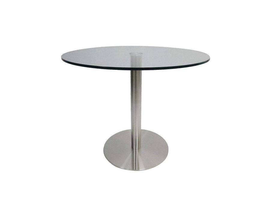 "Mobital Dining Table Radius 36"" Round Dining Table Clear Glass with Brushed Stainless Steel"