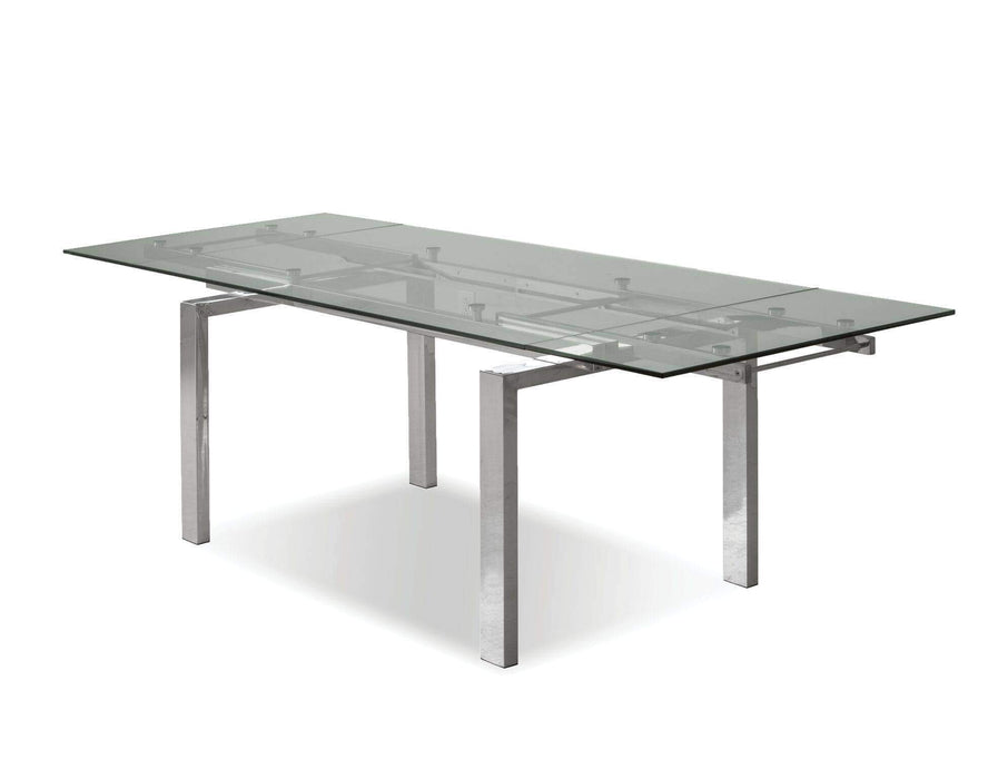 Mobital Dining Table Steel Cantro Extending Dining Table Clear Glass with Stainless Steel Features - Available in 2 Colours