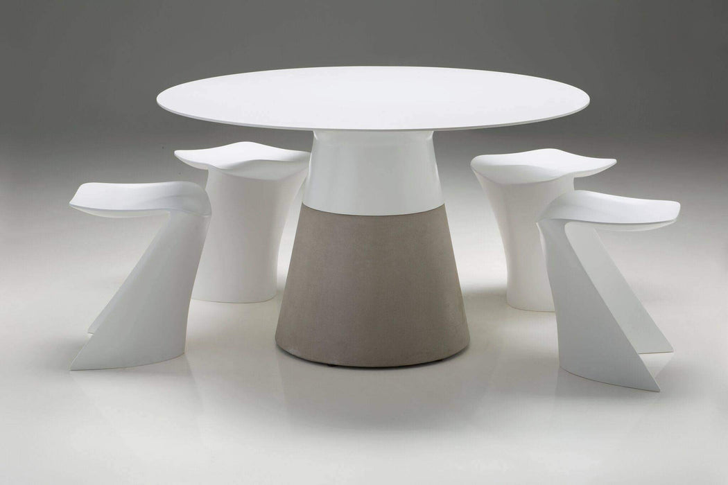 "Mobital Dining Table White / 49"" Maldives Round Dining Table White Solid Surface with Fiber Concrete Base"