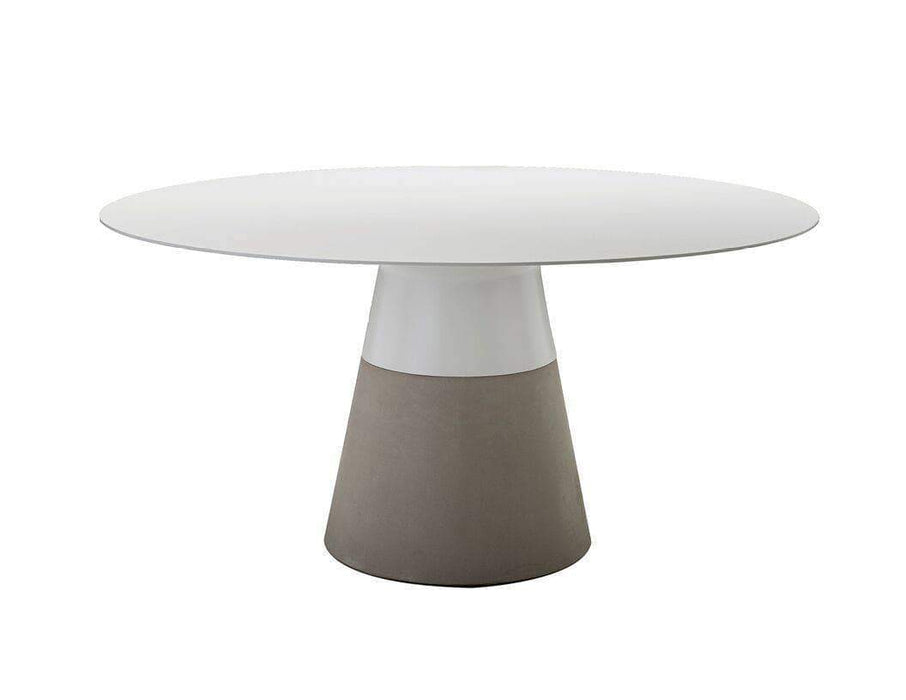 "Mobital Dining Table White / 63"" Maldives Round Dining Table White Solid Surface with Fiber Concrete Base"