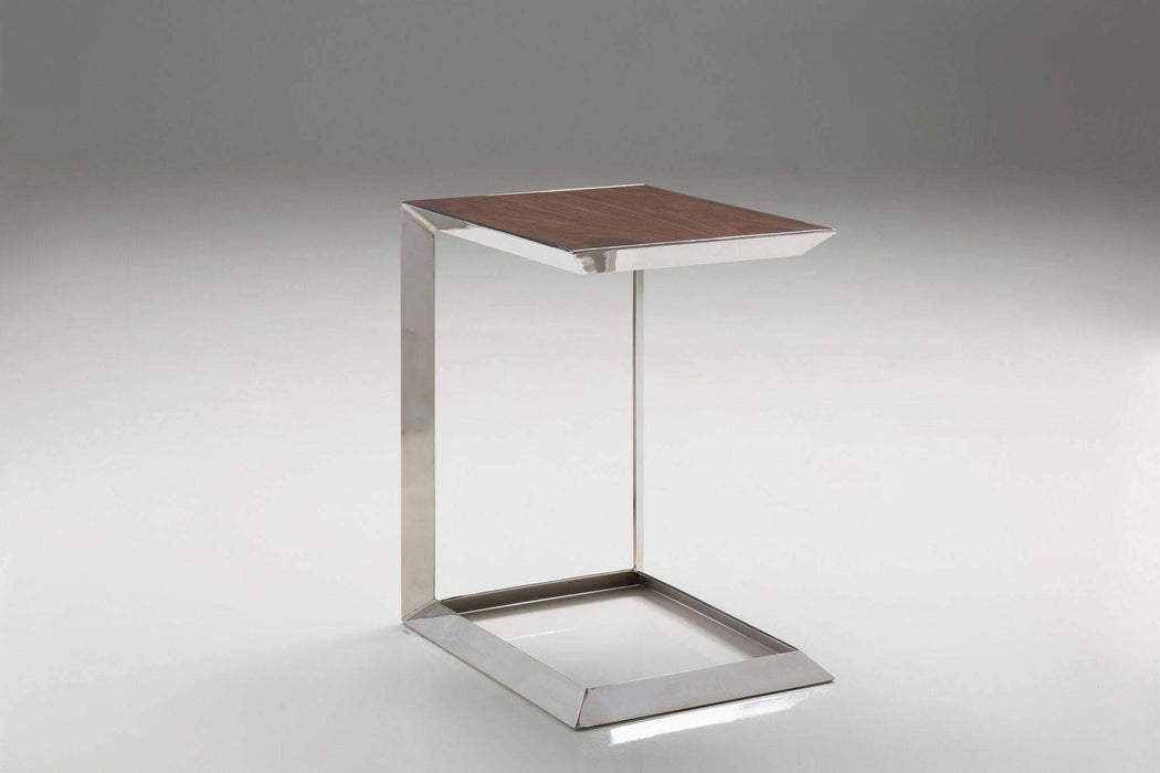 Mobital End Table Horseshoe Table American Walnut with Polished Stainless Steel