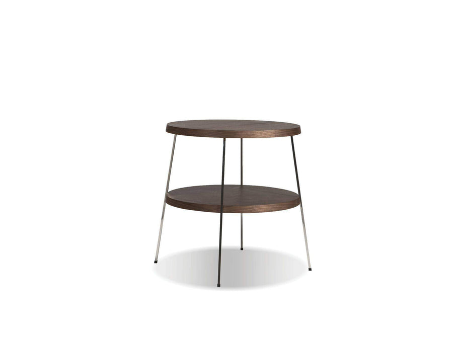 "Mobital End Table Small 12"" Double Decker End Table American Walnut Veneer Tops with Polished Stainless Steel Frame"