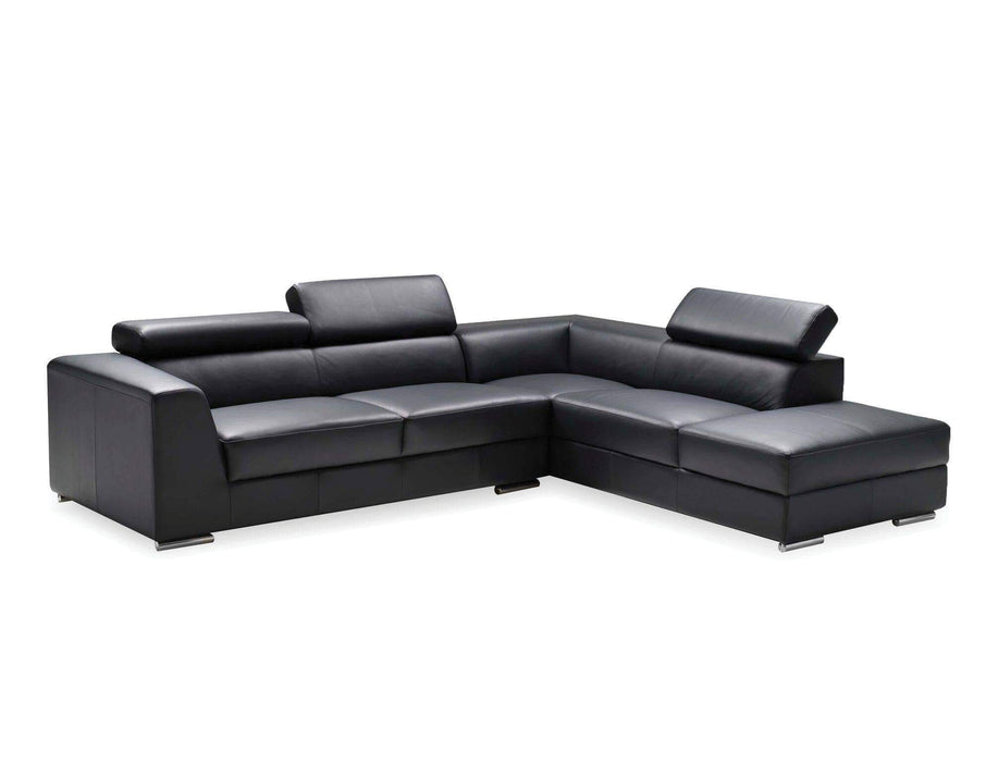 Mobital Leather Sectional Black Icon Right Facing Chaise Sectional White Premium Leather with Side Split - Available in 3 Colours