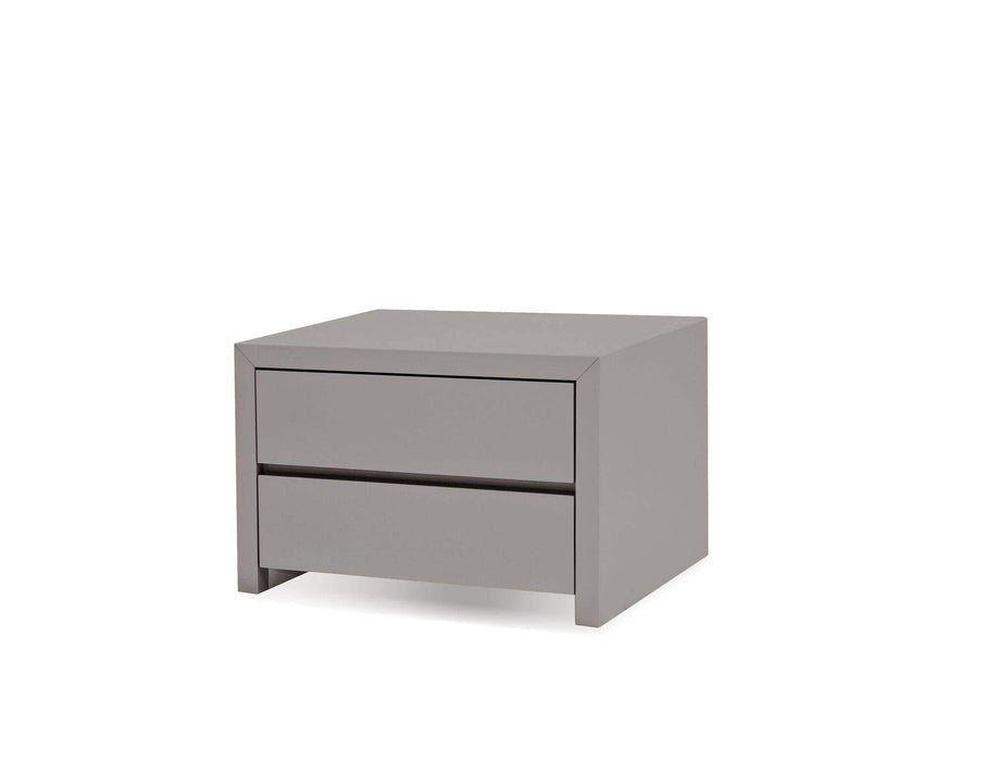 Mobital Nightstand Grey Blanche 2 Drawer Night Table High Gloss Stone - Available in 2 Colours