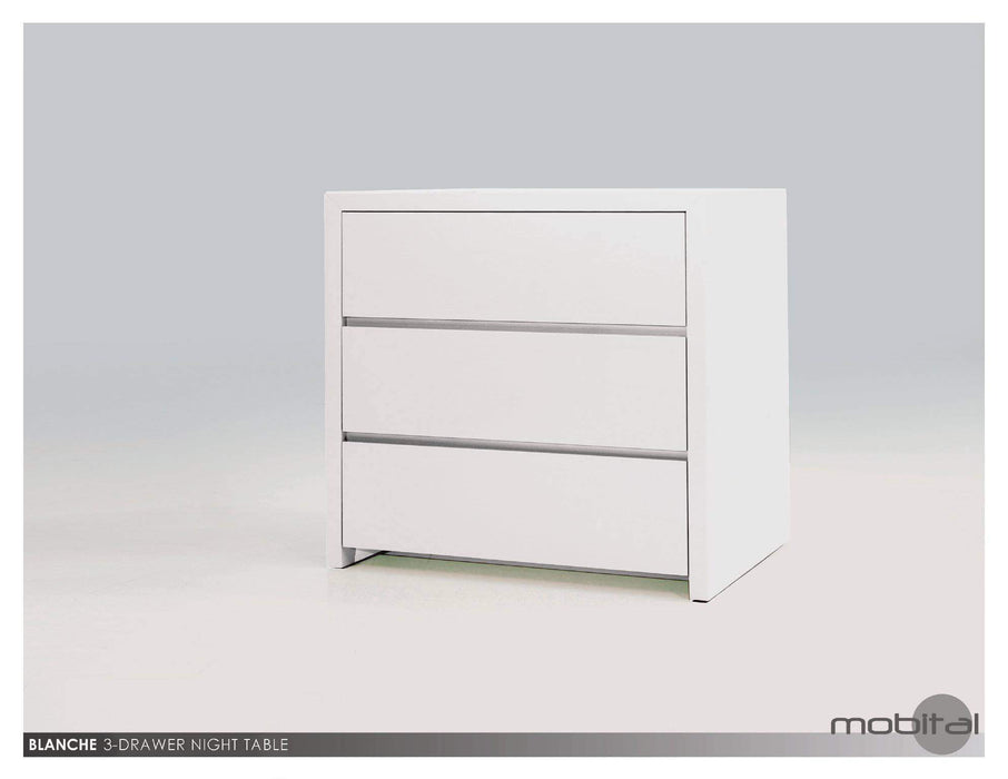 Mobital Nightstand Grey Blanche 3 Drawer Night Table High Gloss Stone - Available in 2 Colours