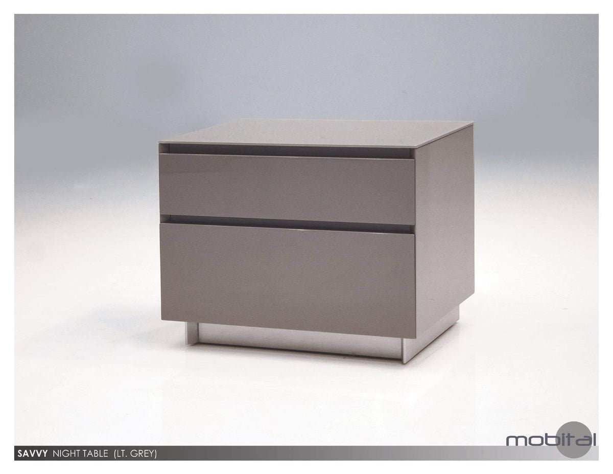 Savvy 2 Drawer Night Table High Gloss Light Grey With Brushed Stainless Steel Available In 2 Colours Wholesale Furniture Brokers Canada