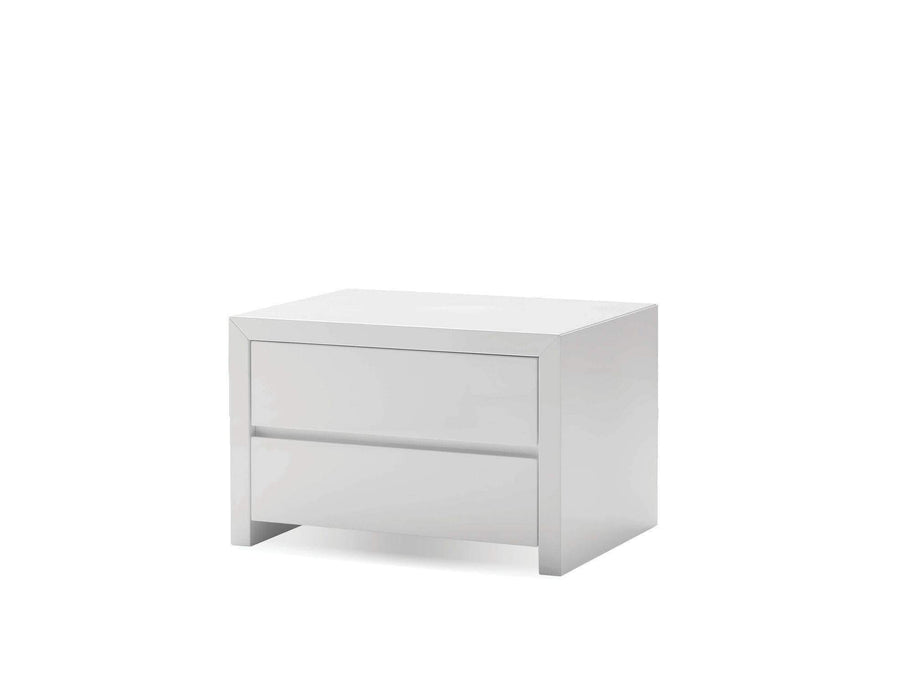 Mobital Nightstand White Blanche 2 Drawer Night Table High Gloss Stone - Available in 2 Colours