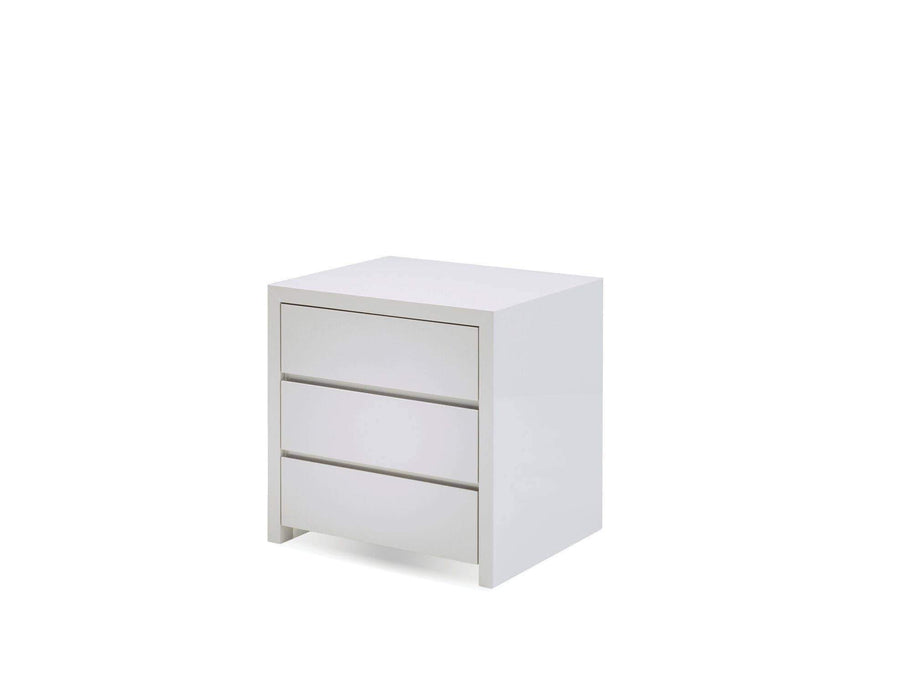 Mobital Nightstand White Blanche 3 Drawer Night Table High Gloss Stone - Available in 2 Colours