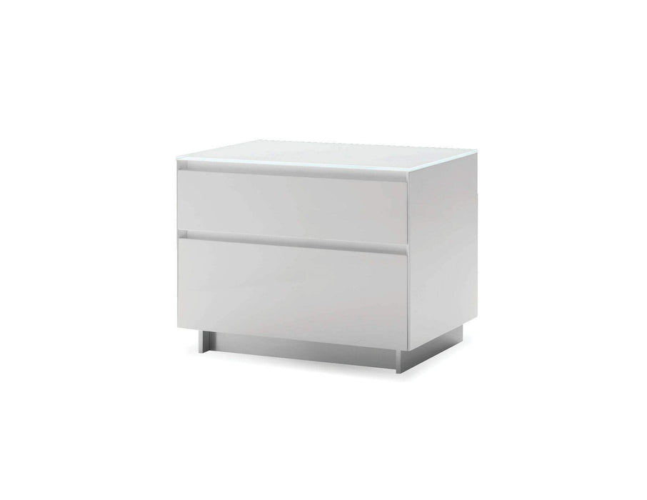 Mobital Nightstand White Savvy 2 Drawer Night Table High Gloss Light Grey with Brushed Stainless Steel - Available in 2 Colours