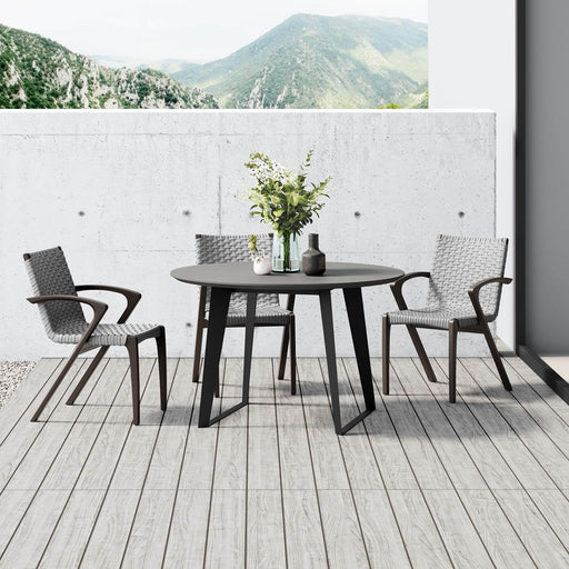 "Modloft Dining Table Amsterdam 47"" Outdoor Round Dining Table in Grey Concrete"