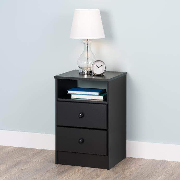 Modubox Black Astrid 2-Drawer Nightstand - Multiple Options Available