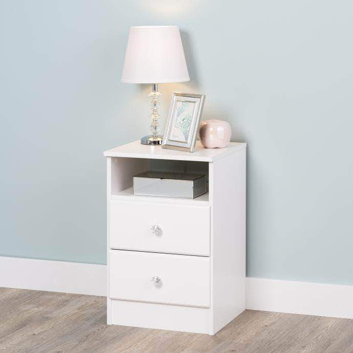 Modubox Crystal White Astrid 2-Drawer Nightstand - Multiple Options Available