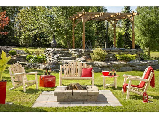 Modubox Patio Conversation Set Natural Cedar Outdoor Cedar White Cedar Classic 4-Piece Conversation Set - Natural Cedar
