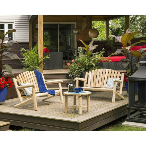 Modubox Patio Settee Natural Cedar Outdoor Cedar White Cedar 2 Settees and Coffee Table Set - Natural Cedar
