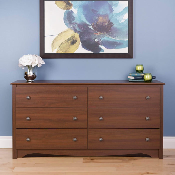 Modubox Sonoma Bedroom Cherry Sonoma 6 Drawer Dresser - Multiple Options Available