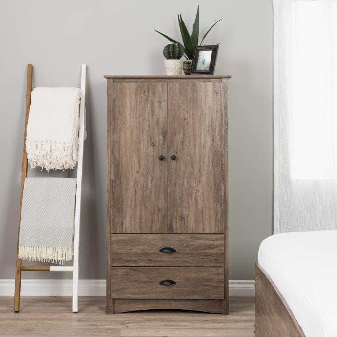 Modubox Sonoma Bedroom Drifted Gray Sonoma 2 Door Armoire - Multiple Options Available