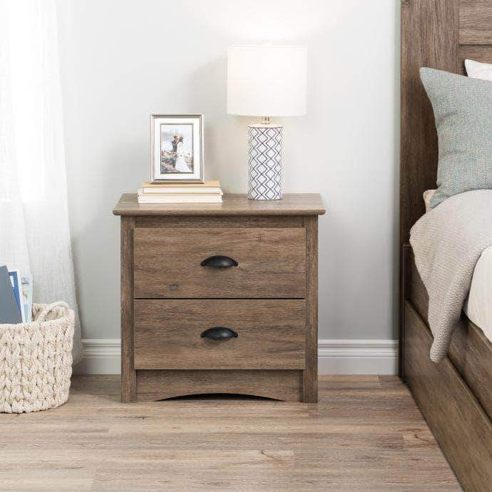 Modubox Sonoma Bedroom Drifted Grey Sonoma 2 Drawer Nightstand - Multiple Options Available
